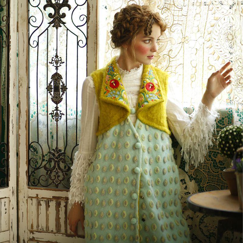 Lynette's chinoiseroy, Осень зима, оригинальный женский жилет с вышивкой кролика, трехмерный жаккардовый шерстяной лоскутный жилет, верхняя одежда