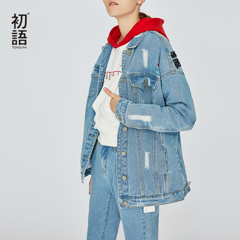 Toyouth Embroidery Blue Jeans Jacket Letter Cartoon Jackets For Women Denim Outwear Coat Chaqueta Mujer Female