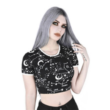Women T Shirts Street Fashion Slim Summer Black Shirt 2019 New Star Moon Print Casual Crop Tops T-Shirts