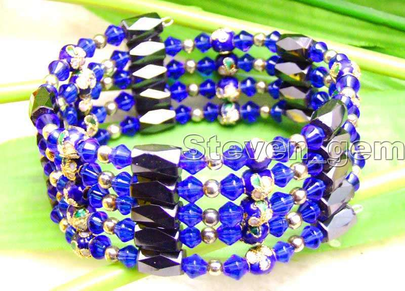 Round 6mm Blue Cloisonne Hematite Magnetic Beads & Blue Crystal Tibetan Silver Beads Necklace/Bracelet -bra281 Free ship
