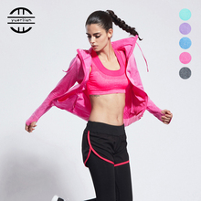 YEL Soft Fitness 3Pieces Yoga Sets Shockproof Women Running Sport Sets Jacket+Bra+Leggings Gym Clothes Trainning Suit Breathable