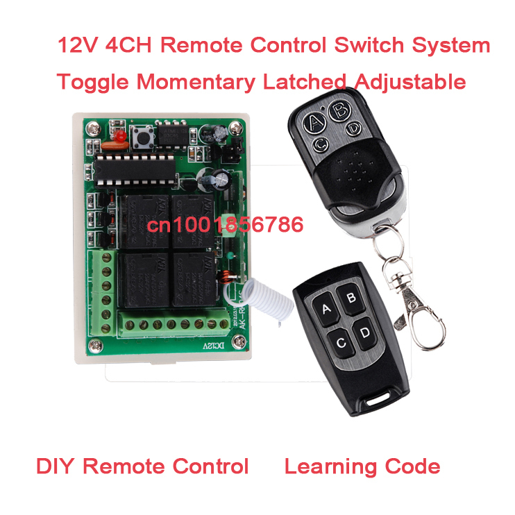 DIY! 12V 4CH(Channel) Wireless Remote Control System Receiver &2Transmitters Working Way is adjustable 433Mhz/315Mhz 4 Relay wireless pager system 433 92mhz wireless restaurant table buzzer with monitor and watch receiver 3 display 42 call button