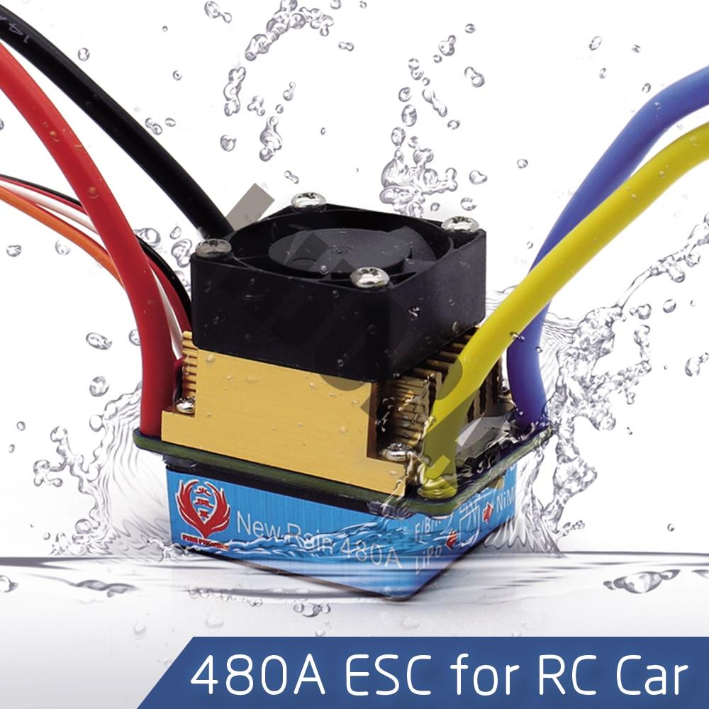 480A Impermeabile Spazzolato Speed Controller ESC con 5 V/3A BEC per 1/10 RC Crawler SCX10 D90 Traxxas Tamiya HSP RC Auto