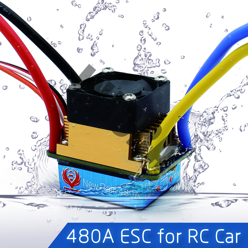 480A Waterproof Brushed ESC Speed Controller with 5V/3A BEC for 1/10 RC Crawler SCX10 D90 Traxxas Tamiya HSP RC Car new 7 2v 16v 320a high voltage esc brushed speed controller rc car truck buggy boat hot selling