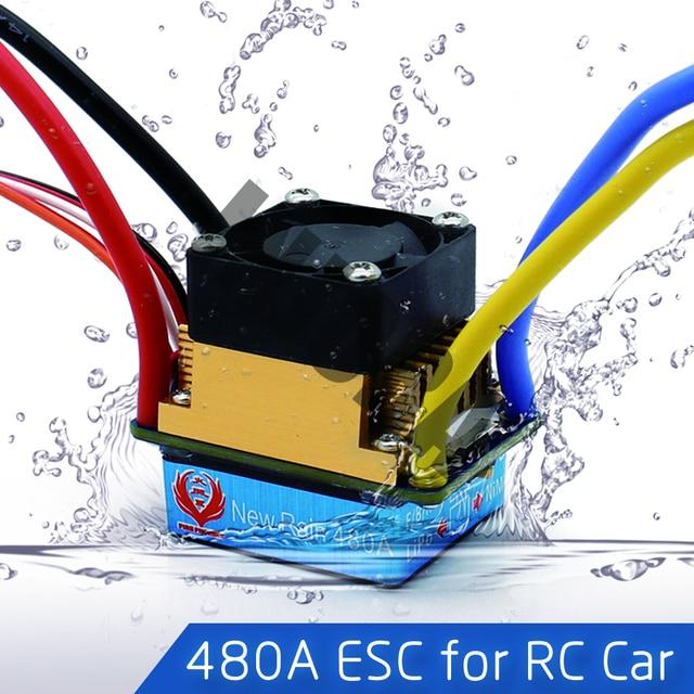 Controlador de velocidad ESC cepillado impermeable 480A con 5 V/3A BEC para 1/10 RC orugas SCX10 D90 Traxxas Tamiya HSP RC Coche