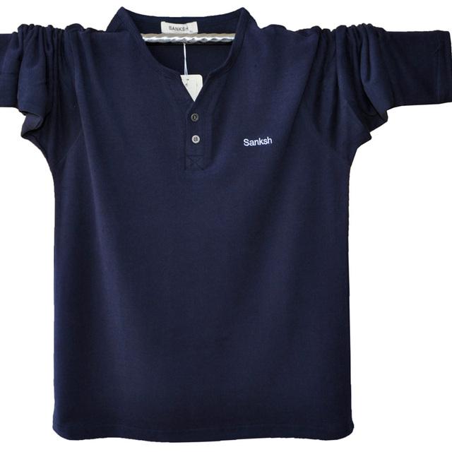 Más Tamaño Camisa de Polo de Los Hombres Caen Moda V Neack Manga Larga Polos Camisas de Polo Ocasional Camisa Polo Masculina A1311