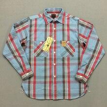 BOB DONG Men's Plaid Work Shirts Selvage Long Sleeve Check Cotton Casual Shirts