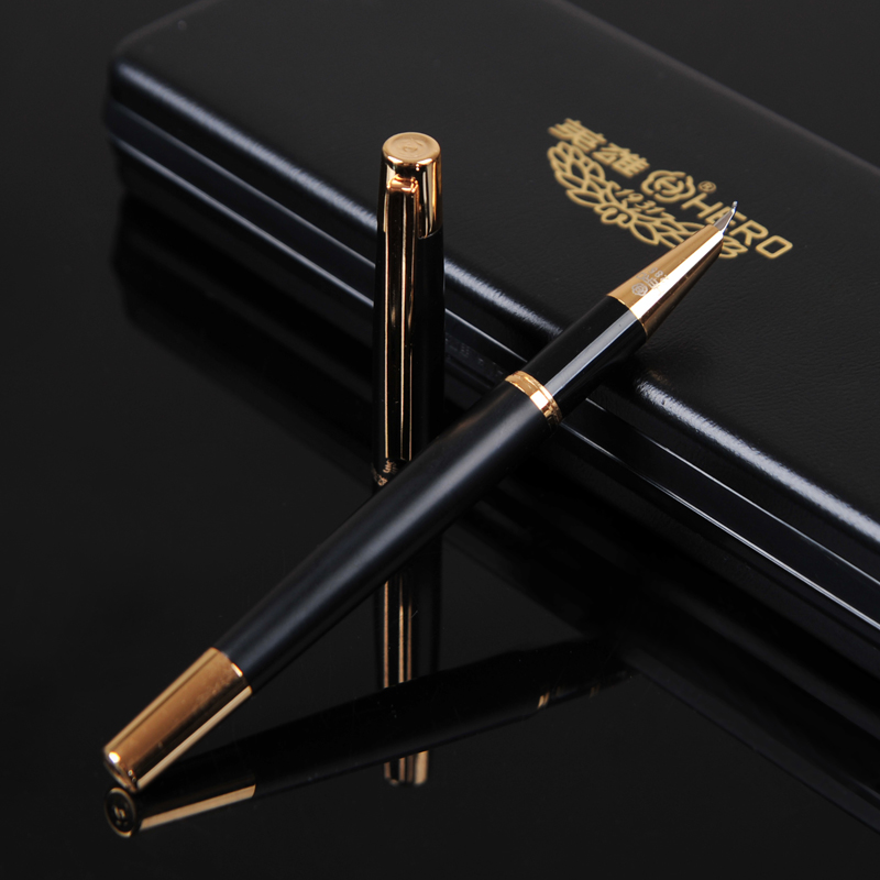HERO 285 Smooth Black and Gold Clip Calligraphy Pen 0.8mm Curved Tip Metal Fountain Pen with Original Gift Case Office Supplies hero 285 smooth black and gold clip calligraphy pen 0 8mm curved tip metal fountain pen with original gift case office supplies