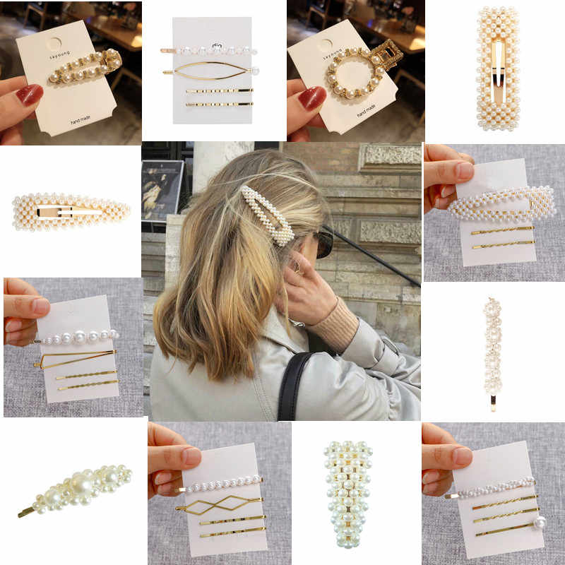 Wholesale 4/3/1pc Fashion Women Pearl Hair Clip Snap Barrette Stick Triangle Elegant Jewelry Hairgrip Korean Style