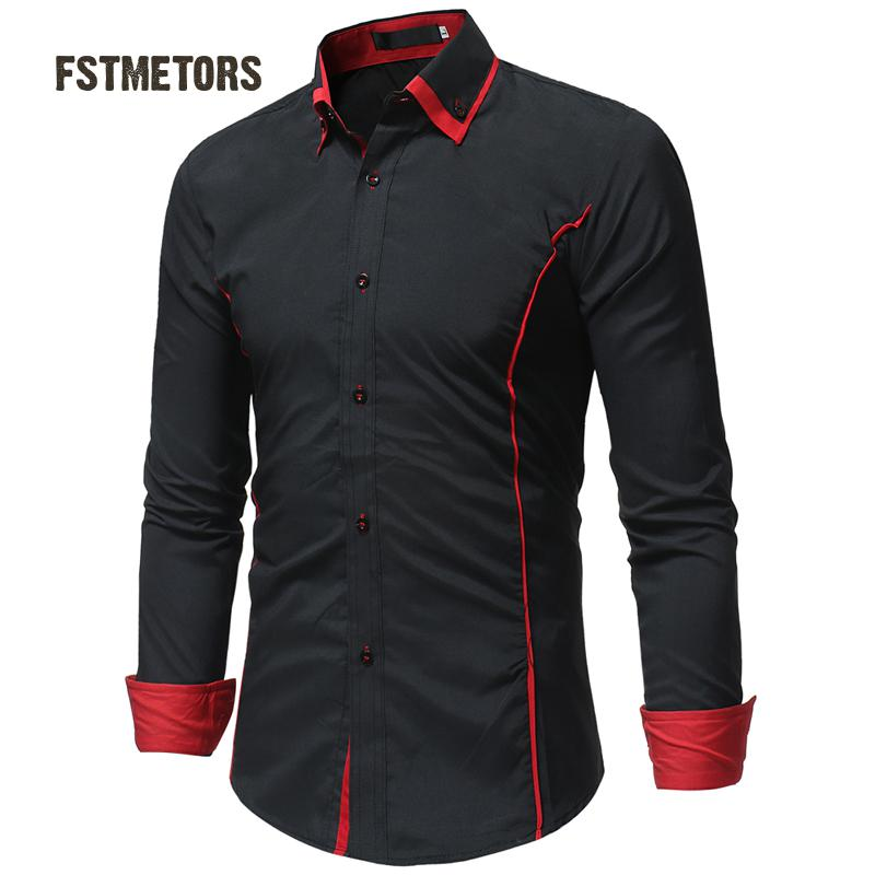 2018 FSTMETORS autumn fashion man shirt cultivate one's morality into the color double led leisure men long sleeve shirt 1
