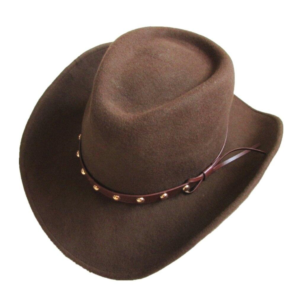 Unisex Brown Wool Felt Western Cowboy Hat For Men Women