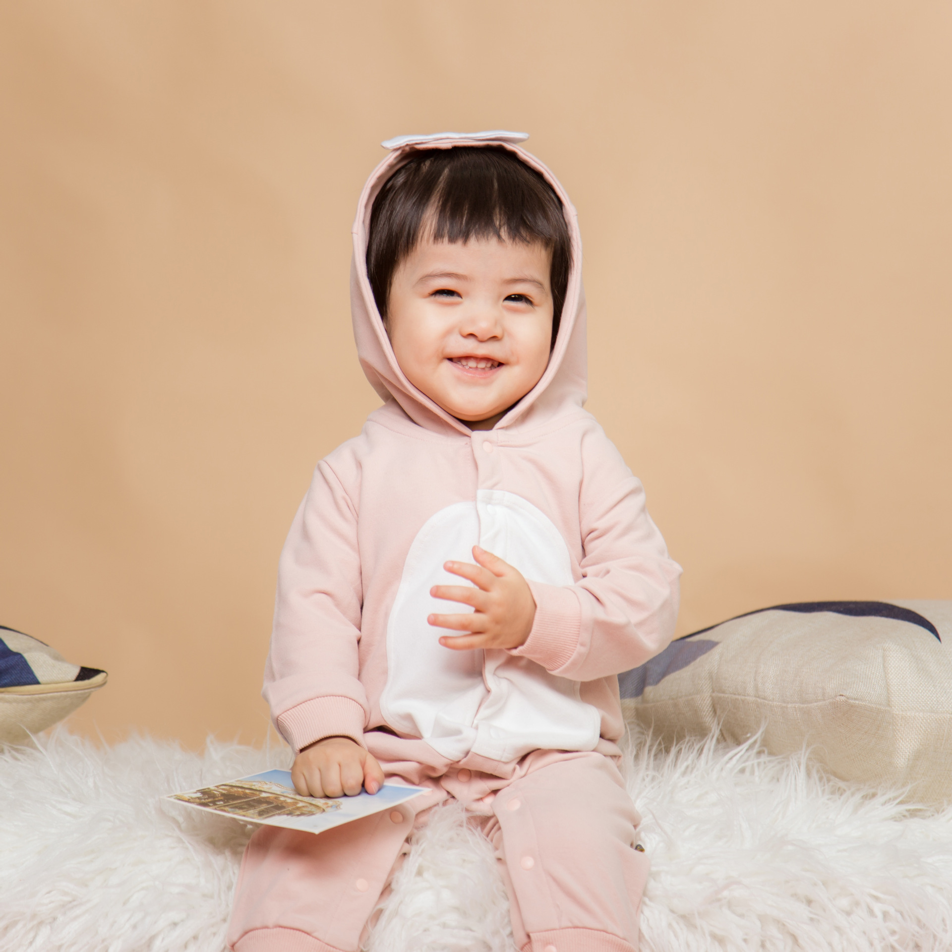 New Leisure Long Sleeve Baby Jumpsuit Autumn Korean Cartoon Animal Hooded Baby Clothes