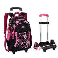 2017 Children Trolley School Bag Backpack Wheeled School Bag For Grils Kids Wheel Schoolbag Student Backpacks Bags