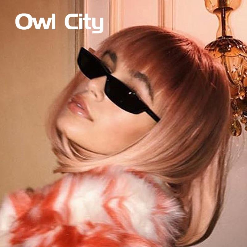 Винтаж прямоугольник Солнцезащитные очки для женщин Для женщин Брендовая дизайнерская обувь Малый Рамки Защита от солнца Очки ретро черные очки