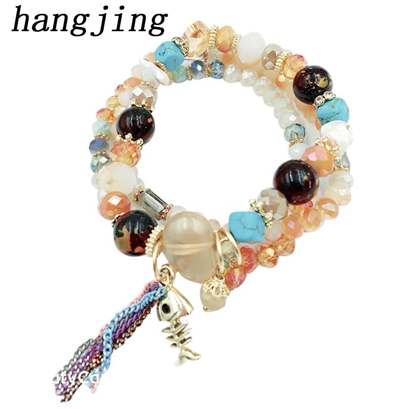 hangjing 3pcs /set  bohemian 2019 new trendy charm tassel unique adjustable crystal nature stone bead bracelets women