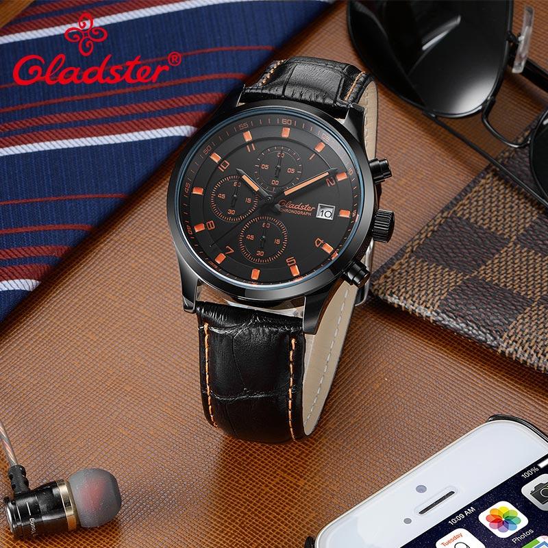 Gladster Luxury Brand Japan MIYOTA VD57 Fashion Men Quartz Watch Stainless Steel Male Wristwatch Waterproof Luminous Men Clock
