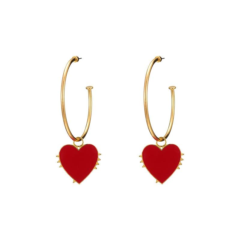 Statement Big Hoop Earrings Women Gold Color Circle Red Heart Earring Bohemian Punk Trendy Jewelry Hoops Long Fashion 2019 MB027