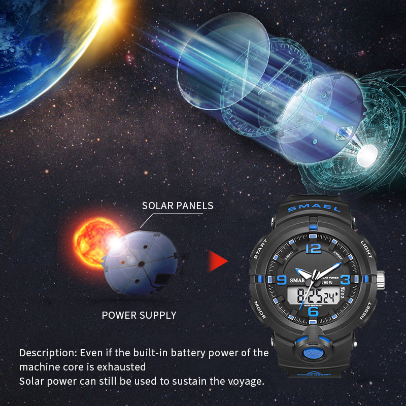 Solar Watch SMAEL Digital Watches Men Led Solar Military Male Clock Men Wristwatches Quartz Sports Watch Relogio Masculino in Sports Watches from Watches
