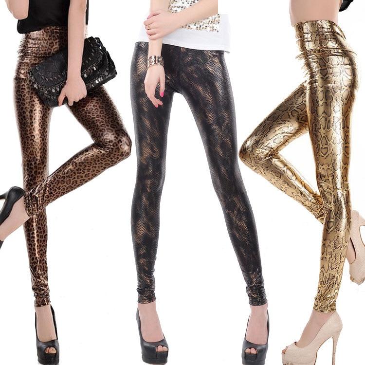 Free Shipping Fashion Leather Pants European Punk Splash Ink Gradient Serpentine Leather Leggings Lady Golden Black Snake Pant