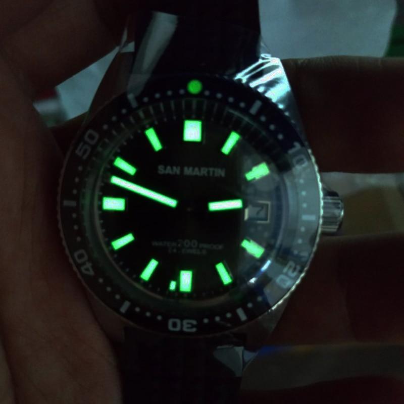 San Martin 62MAS นาฬิกาอัตโนมัติผู้ชายนาฬิกาดำน้ำสแตนเลส 200m กันน้ำเซรามิค Bezel นาฬิกาข้อมือ NH35Mov't 40 มม.-ใน นาฬิกาข้อมือกลไก จาก นาฬิกาข้อมือ บน   3
