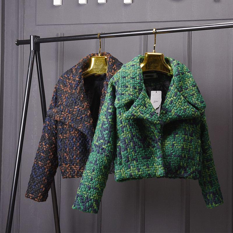 Laine Mélanges Manteau Femmes Automne Hiver Slim Court Tweed Veste Outwear Mode Femelle Revers Pardessus Épais Dames Veste Manteau O669