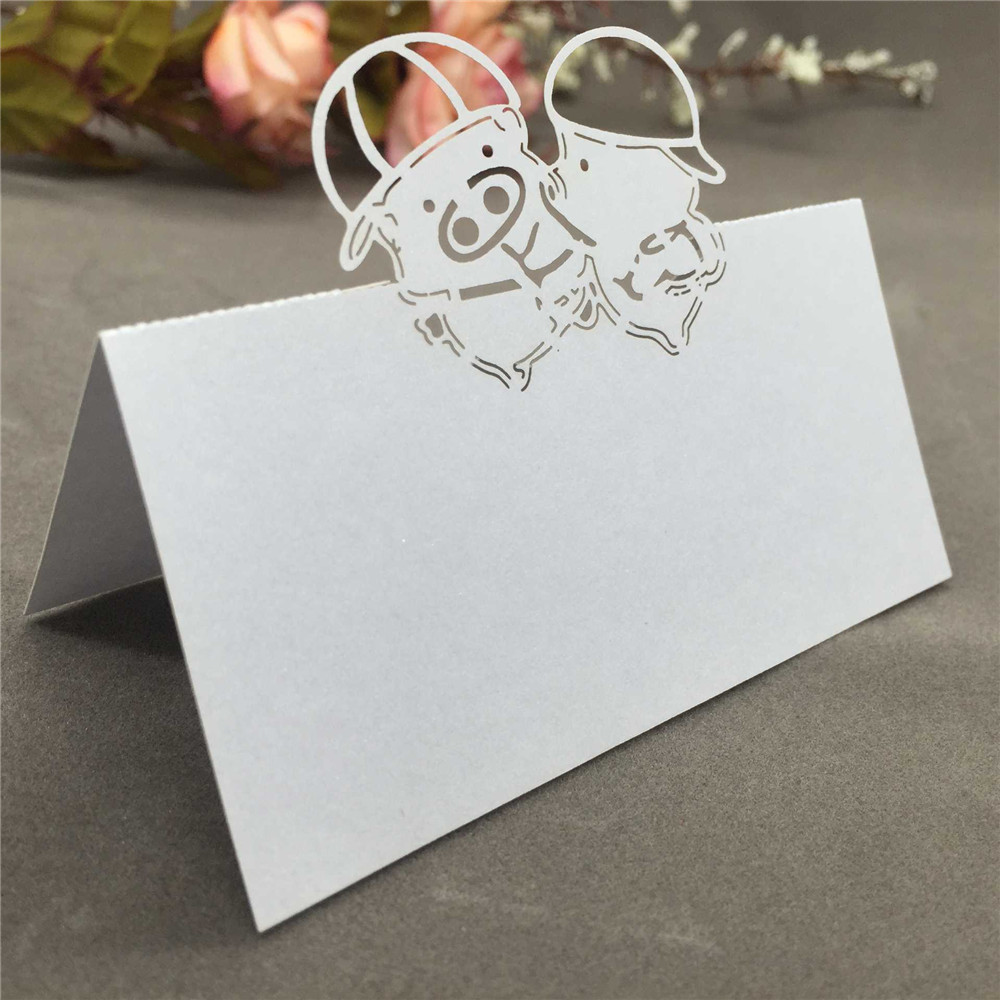 50PCS Cute Wedding Name Card Laser Cut Adorable Pig Pattern Place Card Hollow Out Wedding Seat Card Party Wedding Decorations 1 design laser cut white elegant pattern west cowboy style vintage wedding invitations card kit blank paper printing invitation