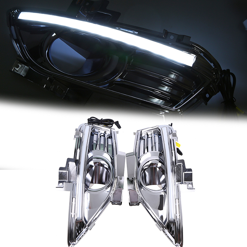 POSSBAY Front Right&Left Fog Lamp DRL Daytime Running Driving Lights Fit for Ford Mondeo (Mk V) Liftback 2013-2016 Pre-facelift tcart drl headlights with turn signal lights for ford mondeo 2013 2016 daytime running light auto led day driving fog lamp