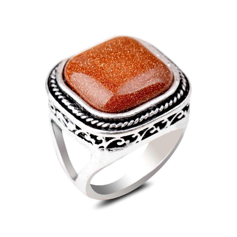 หินสีเขียวธรรมชาติแหวนเงินโบราณ Golden Sand เรขาคณิตสแควร์อาเกตการตั้งค่า Lady แหวน 17/18/19 เซนติเมตรเครื่องประดับ