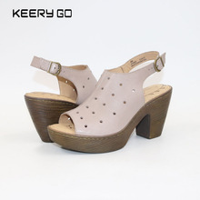 New head leather high heel fish mouth hollowed out lady sandals comfortable fashionWomen's sandals keerygo new high end leather comfortable feet sandals classic sandals