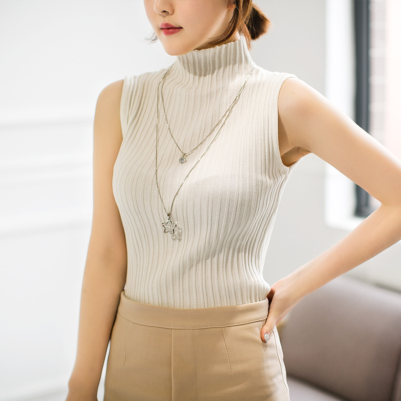 2018 fashion women stand collar sleeveless pullover sweater spring autumn design women knitted vest sweaters