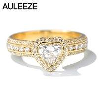 AULEEZE роскошный Halo 1CT Moissanite кольцо с бриллиантами в форме сердца 14 k желтое золото обручальные кольца для женщин ювелирные украшения