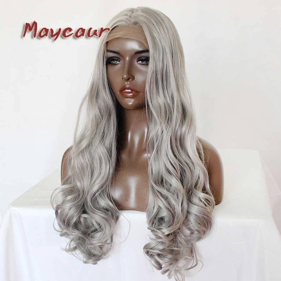 Maycaur шелковистый серый цвет тела Волнистые парики Безглютеновые термостойкие синтетические парики на кружеве для черных женщин