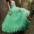 Barato Verde Menta 2017 Quinceanera Vestido de Baile Frisada Pedrinhas longo sweet 16 anos vestidos de festa vestido de 15 años Bespoke