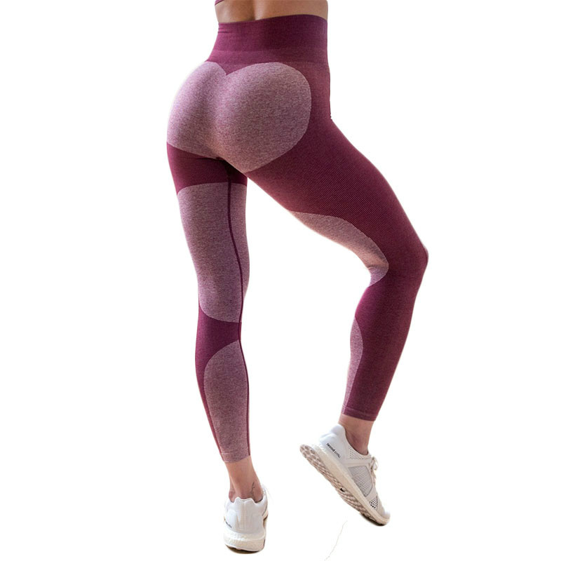 SVOKOR Fashion High Waist Heart Women   Leggings   Polyester Long Ankle Workout   Leggings   Splice Fitness Push Up   Leggings