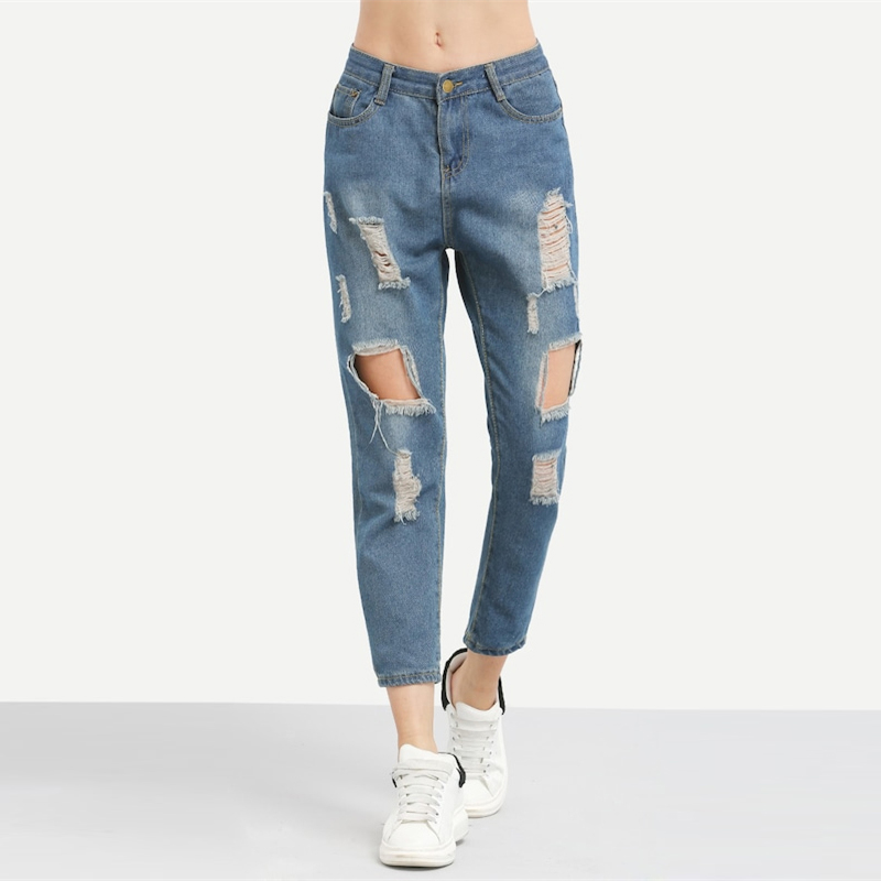 ROMWE Blue Ripped Distressed Boyfriend Ankle Denim Jeans Women Casual Summer Autumn Plain Straight Leg Pants Spring Trousers 7