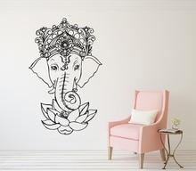 Art Wall Decal Elephant Vinyl Stickers Yoga Ganesh Tribal Buddha Om Lotus Home Decor Indie M-182