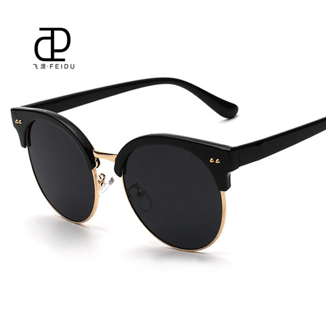 361af9f9d6 FEIDU High Quality Fashion Korean V Brand Sunglasses Women Retro Round  Gasses UV400 Sun Glasses Oculos De Sol Feminino With Box