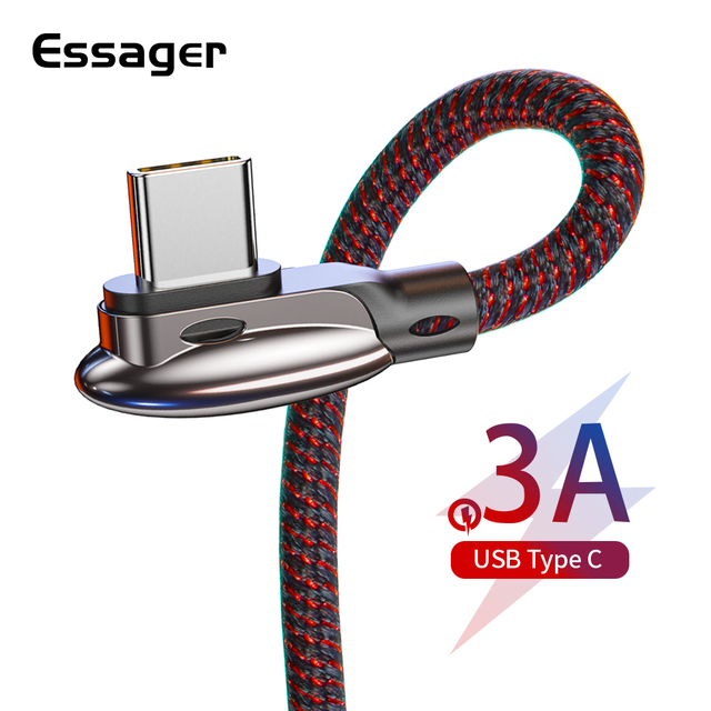 Essager 90 Degree USB Type C Cable Fast Charge Wire Cord USB C Cable for Samsung Xiaomi Redmi K20 Pro Mobile Phone USB-C Charger