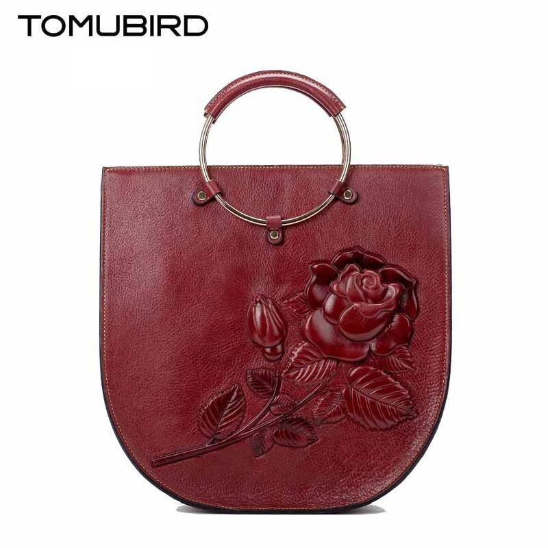 2017 New Genuine Leather Embossed Shoulder Messenger Bag High-end air hand bag woman