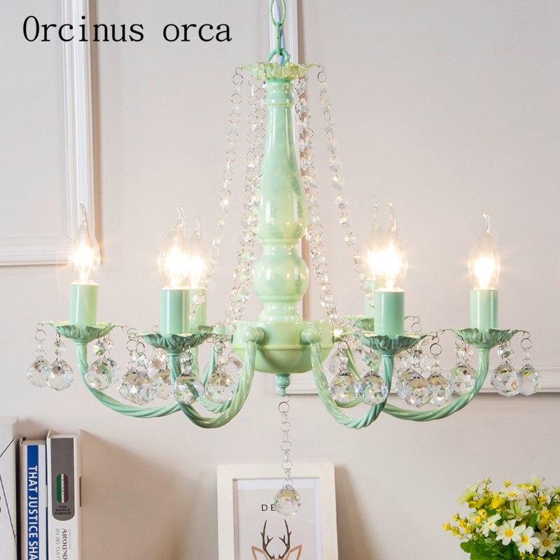 Pastoral fresh green crystal chandelier Princess Room girls ...