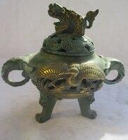 Китайский старая бронза золотом золоченой резной Журавлик Ладан горелки/античный металла Кадило