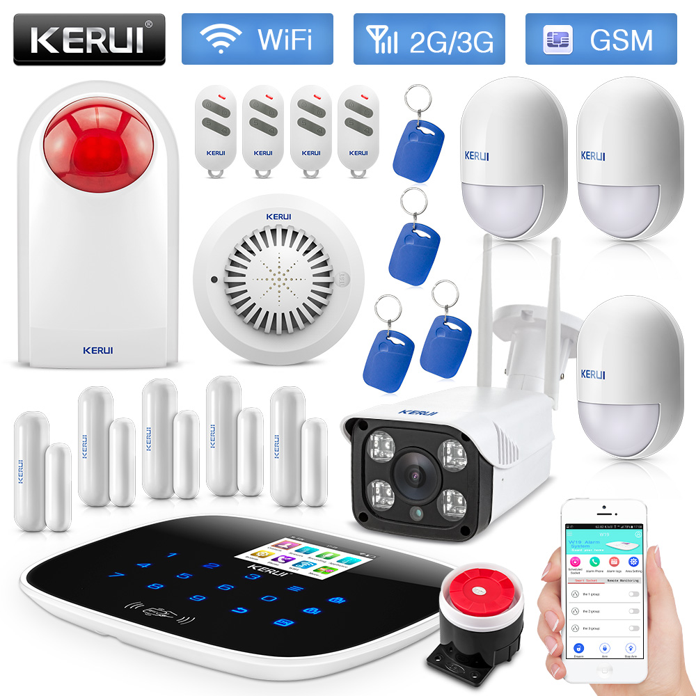 KERUI W193 WiFi 3G GSM PSTN RFID Wireless Smart Home Security Alarm System Motion Detector Fire Protection With IP Camera
