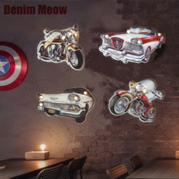Motorcycle LED Neon Sign Retro Plaque Hanging Metal Painting Decorative Metal Plate for Pub Bar Car Advertising Signboard N222