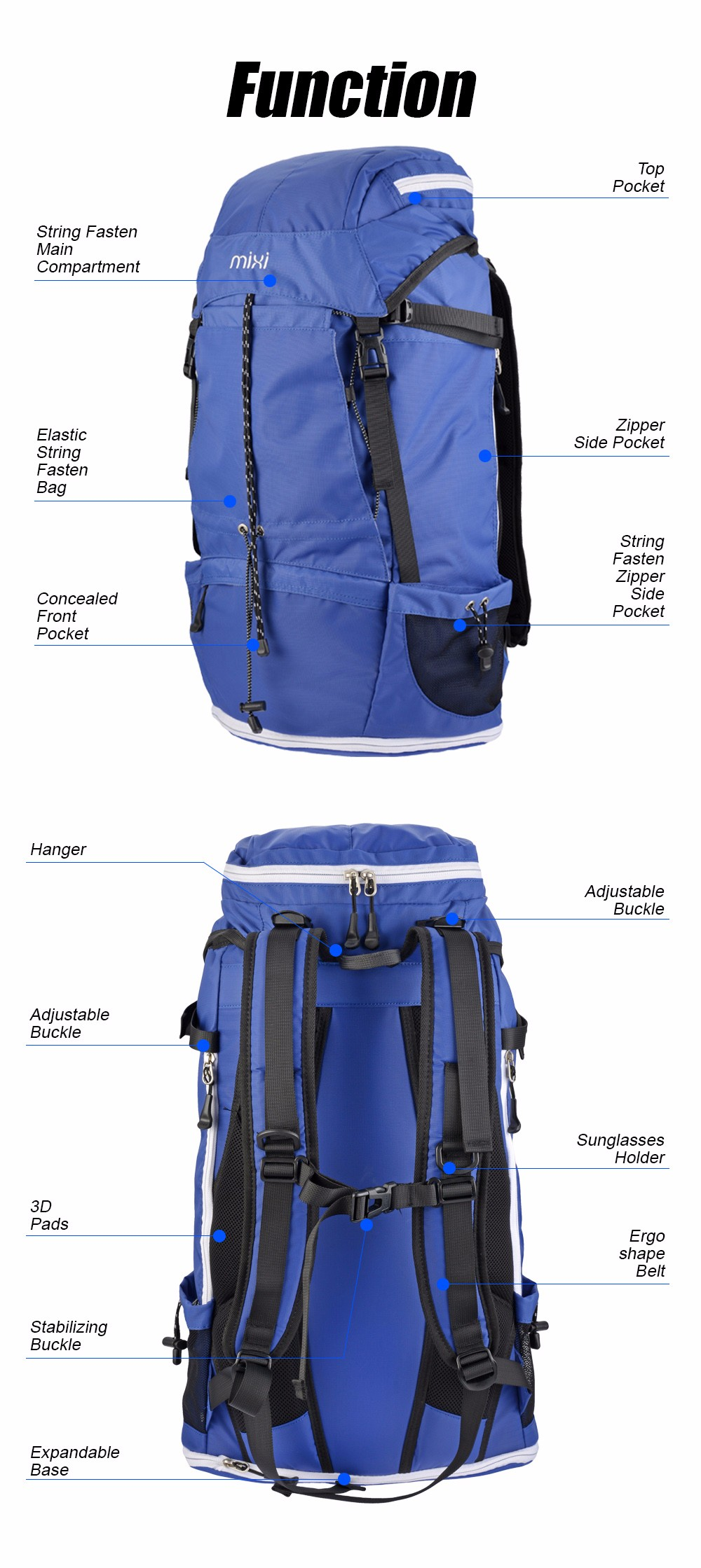 44940619d7a9 US $53.81 |Mixi Large 43L Outdoor Backpack Unisex Travel Multi purpose  Climbing Backpacks Hiking Big Capacity Rucksacks Camping Sports Bags-in ...