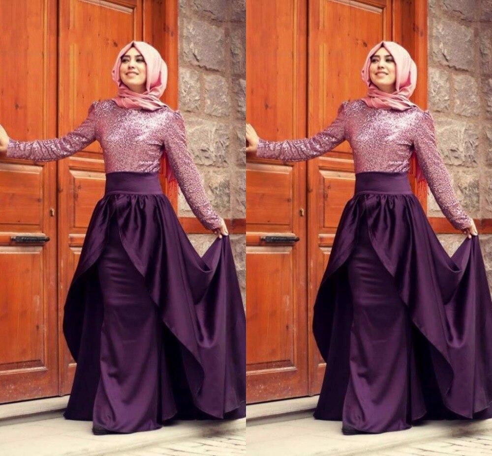 da1dba059 Hijab Style Evening Dresses High Neck Long Sleeve A Line Floor Length  Evening Dress Sequin Satin Robe De Soiree