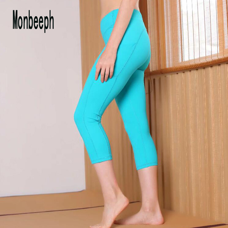 Monbeeph good quality Women Super Stretch Calf-length Pencil   Pants   skinny sky blue black   capris   with pocket