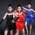 Новый Детский Девушки Сексуальный Черный Синий Красный Розовый Блестками платье, танцы Дети Samba Конкурс Бальных Сальса Латинская Бахрома Платье