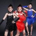 Nova Criança Meninas Sexy Preto Azul Vermelho Rosa Lantejoulas Ballroom Competição vestido de dança Crianças Samba Salsa Latin Franja Vestido