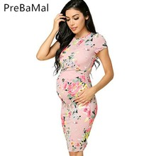 Buy 2019 Summer Maternity Women Dress Side Ruching Scoop Flattering Dresses Clothes For Pregnant Mama Pregnant Women Clothing C0023 directly from merchant!