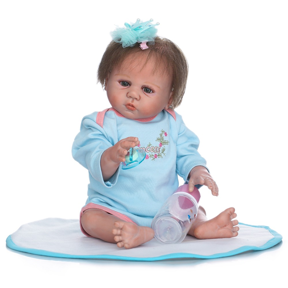 50cm Full Body Soft Silicone Reborn Babies Doll Toys Like Real Newborn Princess Girl Baby Doll Lovely Birthday Gift Kid Present flower girls dress for wedding and party dresses children carnival costume for kids princess dresses for girls christmas dress